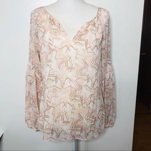 WHBM Pink White lined blouse balloon sleeves 6